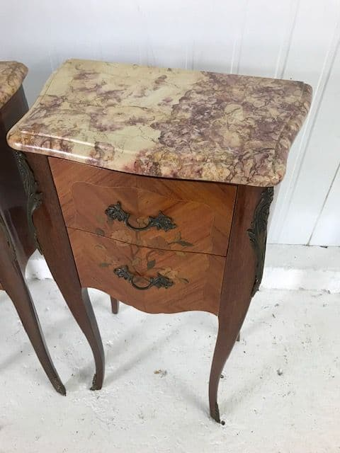 SOLD - Lovely Marble Top French Bedside Cabinets - b84